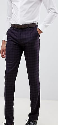 Farah Farah Hurstleigh skinny fit check suit trousers in burgundy-Red
