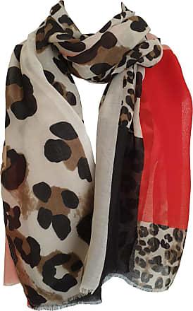 GlamLondon Womens Leopard Print Scarf Multi Coloured Border (BM33-Bright-Red)