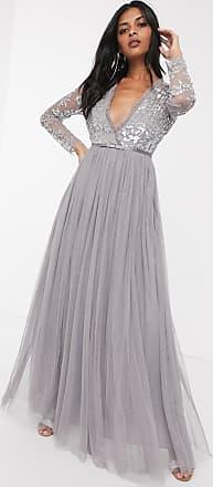 Needle & Thread sequin bodice maxi dress in grey