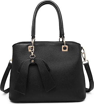 Quirk Leather Look Bow Pendant Handbag - Black