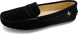 MGM-Joymod Ladies Womens Fashion Comfy Casual Slip-on Black Suede Leather Walking Driving Loafers Flats Moccasins Hiking Shoes 6.5 M UK