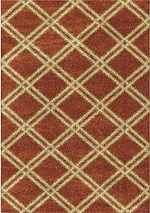 Orian Rugs Majestic Shag Concentric Diamonds Area Rug, 53 x 76, Red