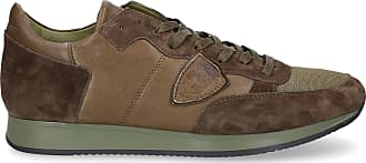 Philippe Model Sneaker low Tropez smooth leather suede Logo olive