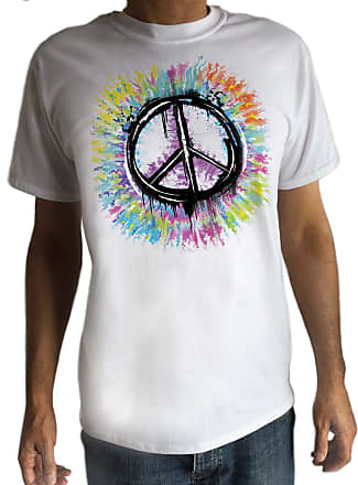 Irony Mens Hipster Peace Sign T-Shirt Military CND Peace Logo Retro Antiwar Hippy C12-3 (Large) White