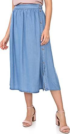 Vero Moda Saia Jeans Vero Moda Midi Pregas Azul