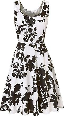 QUINTRA Women Summer Vintages Sleeveless Beach Bohe Casual Floral Tank Short Mini Dress (XL, Black)
