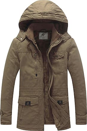 WenVen Mens Thicken Fleece Parka Jacket with Removable Hood Khaki X-Large