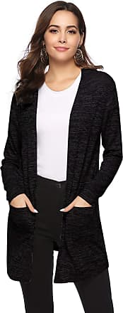 Abollria Womens Cardigans Summer Lightweight Long Sleeve Waterfall Open Front Cardigan Jacket Black