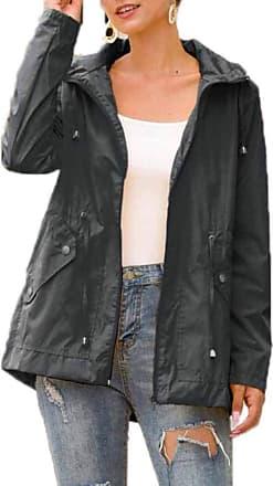 Hellomiko Ladies Raincoat Waterproof Jacket Hooded Lightweight Shower Proof Windbreaker Outdoor Long Sleeve Zipped Trench Coats