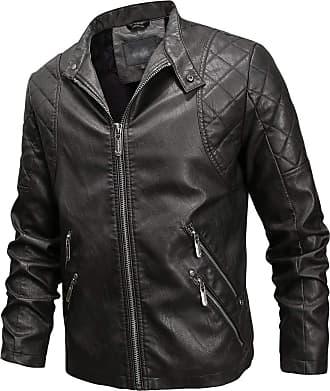 JERFER Men Winter Leather Jacket Biker Motorcycle Zipper Long Sleeve Coat Top Blouses