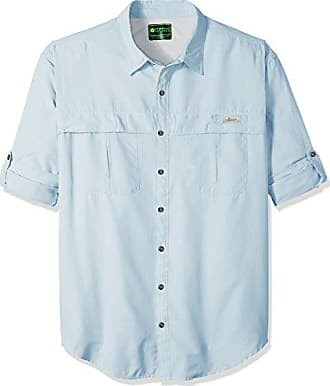 G.H. Bass & Co. Mens Big and Tall Explorer Survivor Long Sleeve Point Collar Fishing Shirt, Skyway, 2X-Large Tall