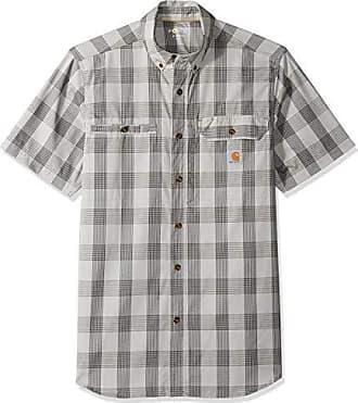 Carhartt Work in Progress Mens Force Plaid Ridgefield Short Sleeve Shirt (Regular and Big & Tall Sizes), Steel Asphalt, 2X-Large