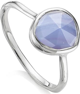 Monica Vinader Siren Stacking Blue Lace Agate ring - SILVER