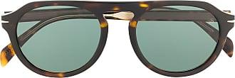 David Beckham Óculos de sol redondo com efeito tartaruga - Verde