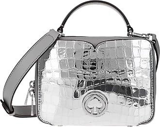 Kate Spade New York Vanity Metallic Croc Embossed Mini Top Handle Bag Silver Umhängetasche grau