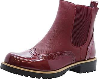 Saute Styles Womens Ankle Chelsea Brogues Boots Ladies Block Heels Slip On Office Shoes Size (4 UK, Wine Burgundy Chelsea)