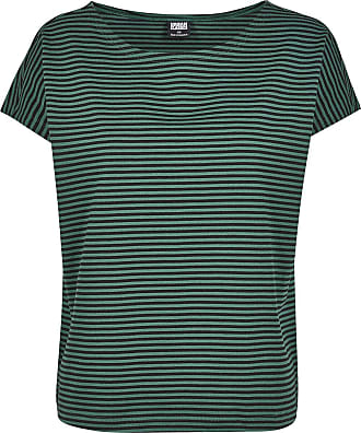 Urban Classics Ladies Yarn Dyed Baby Stripe Tee - T-Shirt - grün, schwarz
