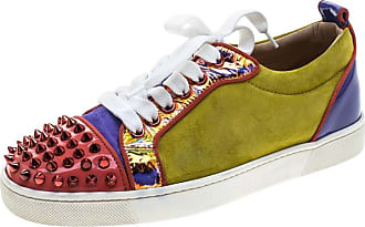 278e95e5d013 Christian Louboutin Suede And Patent Leather Louis Junior Spikes Sneakers  Size36