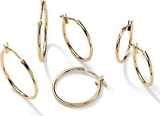 PalmBeach Jewelry Three-Pair Set of Hoop Earrings in 10k Gold