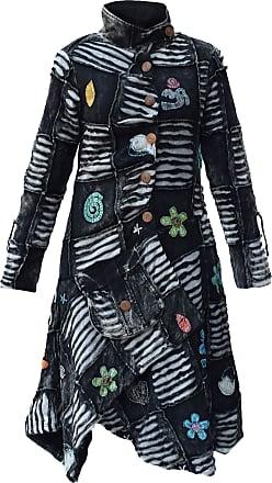 Gheri Long Ribs Goth Black Asymmetrical Hem Cotton Hippie Coat Medium