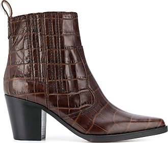 Ganni western crocodile-effect boots - Brown