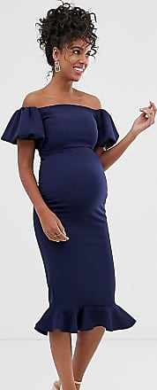 Queen Bee Maternity off shoulder puff sleeve dipped hem midi dress in navy-Blue