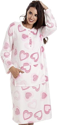 Camille Pink and White Heart Print Supersoft Fleece Hooded Lounger 18/20 White Heart