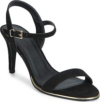 Truffle Black Vegan Faux Micro Suede High Heel Strappy Evening Sandals - Black - UK 6