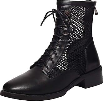 RAZAMAZA Women Fashion Shoes Low Heel Lace Up Boots Breathable Mesh Fashion Boots Zipper Short Boots Black Size 38 Asian