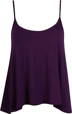 44f89a71fa7e Purple Hanger Womens Plain Sleeveless Ladies Straps Strappy Camisole Vest  Top (Purple Plain Starppy Camisole
