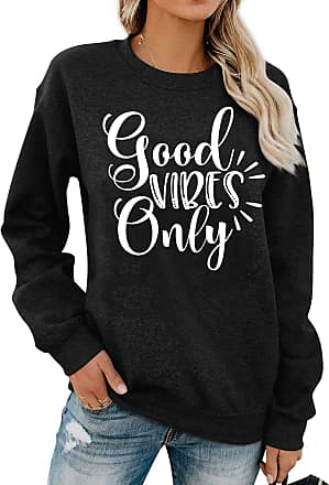 Dresswel Women Good Vibes Only Sweatshirt Pullover Crew Neck Long Sleeve Tops Shirts Jumpers Blouse Black