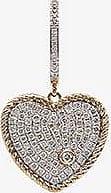 Yvonne Léon Womens 18k Yellow Gold Diamond Heart Hoop Earring