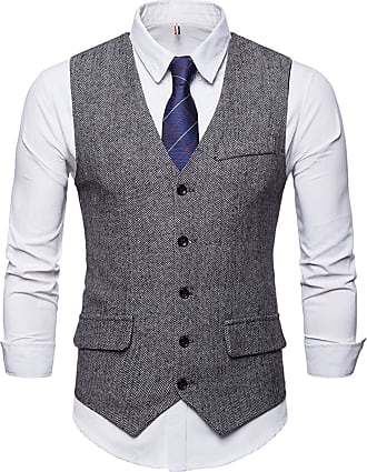 Whatlees Mens Slim Tweed Vest with Double-Breasted Button Front Gray 02010004XGray+XXL