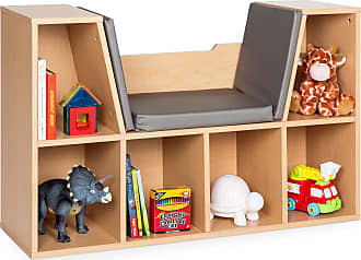 Best Choice Products Multi-Purpose 6-Cubby Kids Bedroom Storage Organizer Bookcase w/ Cushioned Reading Nook - Brown