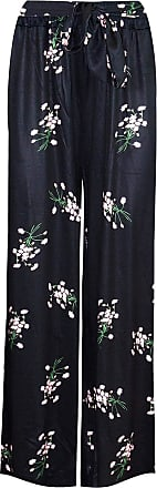 Be Jealous Womens Floral Palazzo Flared Wide Leg Baggy Pants Black Pink Flowers M/L (UK 10/12)