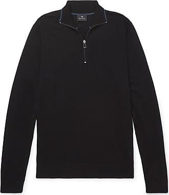 Paul Smith Merino Wool Half-zip Sweater - Black