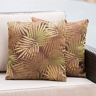 BEST SELLING HOME Coronado Outdoor Square Tropical Red Water Resistant Pillow (Set of 2) Tropical Black - 300741