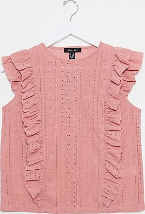 New Look frill detail broderie top in pink