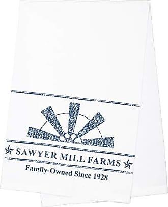 VHC Brands Farmhouse Tabletop Sawyer Mill Windmill Blade Fabric Loop Cotton Stenciled Muslin Graphic/Print Kitchen Towel Denim Blue