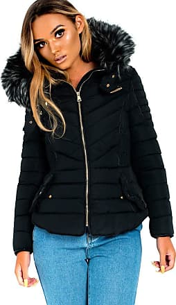 Ikrush Harley Padded Faux Fur Hood Jacket Black UK XXL
