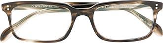 Oliver Peoples Armação de óculos retangular Denison - Marrom