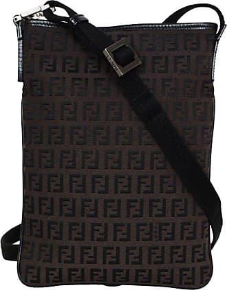 Fendi Dark Brown Ff Canvas Monogram Zip Top Flat Crossbody Bag e5d1f41d02