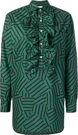 Plan C Camisa listrada com babados - Verde