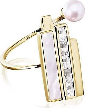 Misaki Bague large Breeze dorée avec perle de culture rose - taille 50