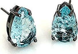 Vivid Brinco Vivid Gota Cristal Fuzion Azul Rodio Negro Semi Joia