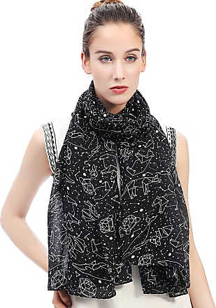 Lina & Lily Constellation Print Womens Large Scarf Lightweight (Black)