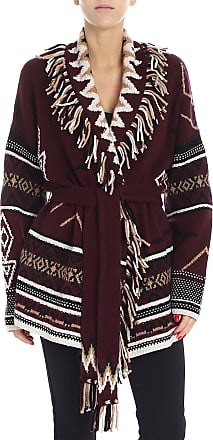 360 Cashmere Burgundy cardigan with fringes