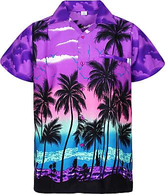 V.H.O. Funky Hawaiian Shirt, Shortsleeve, Beach, Purple, 3XL