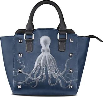 NaiiaN Leather Chic Octopus Art Shoulder Bags Handbags Light Weight Strap Purse Shopping Shepherd Tote Bag for Women Girls Ladies Student