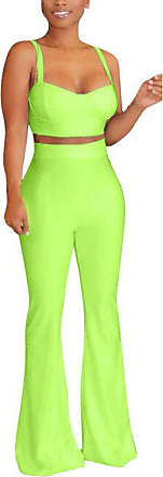 Saoye Fashion Summer Solid Color Two Piece Women Camisole Tops Wide Leg Feast Clothing Pants Suits Casual Simple Slim Trendy Trend Streetwear 2 Piece (Color : Green